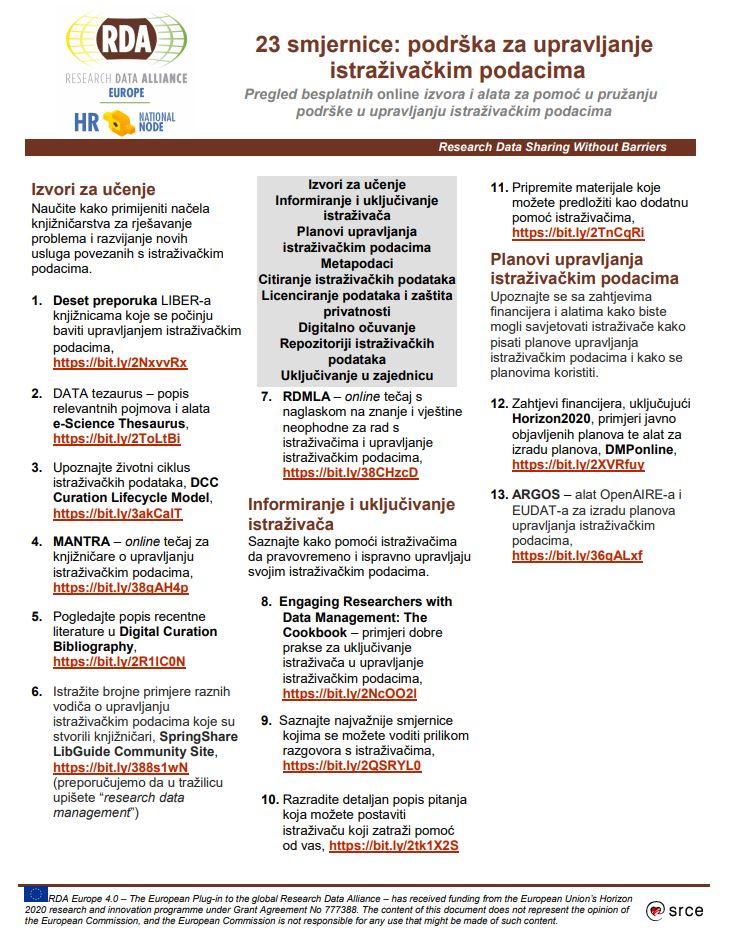 prikaz prve stranice dokumenta 23 smjernice: podrška za upravljanje istraživačkim podacima